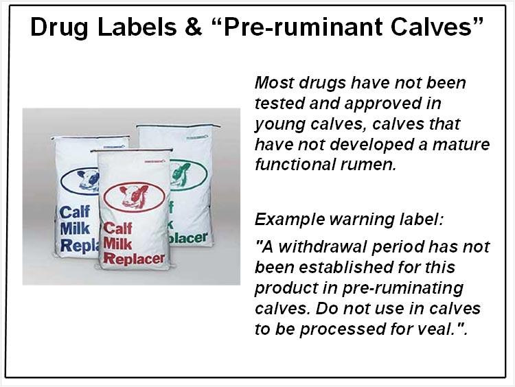 Drugs in non-ruminant calves