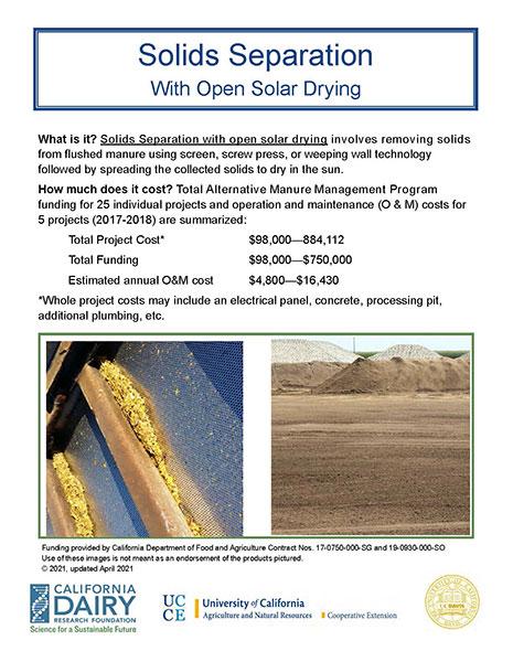 Separation Open Solar Drying
